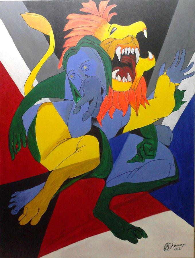 Dashavatara Painting - Avatar Series-narasimha by Chinmaya BR