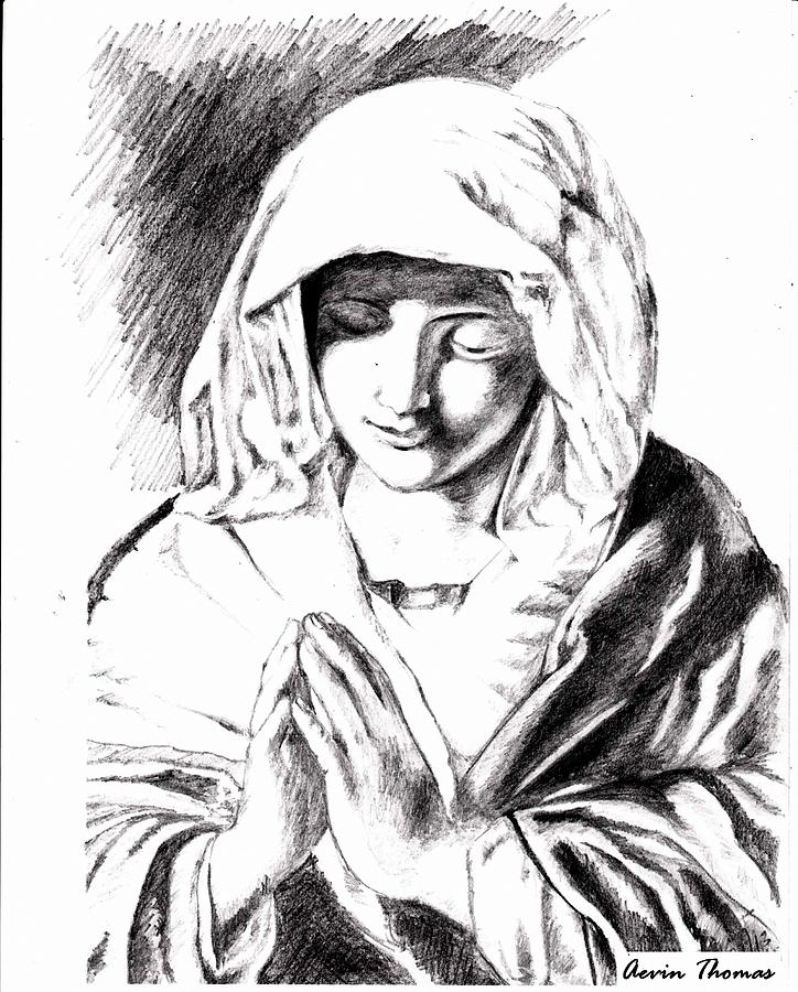 Maria Drawing - Ave Maria by Aevin Thomas