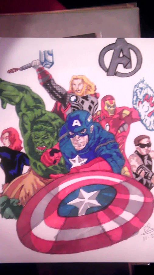 Avengers Drawing - Avengers Assemble by Edward Settles