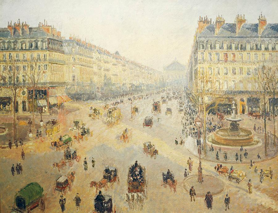 Road Painting - Avenue De Lopera In Paris by Camille Pissarro