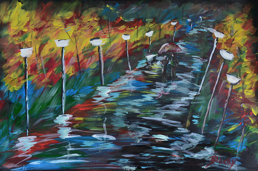 Evening Painting - Avenue Of Shadows by Donna Blackhall