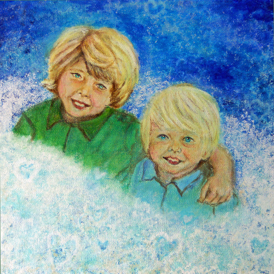 Brothers Painting - Avery And Atley Angels Of Brotherly Love by The Art With A Heart By Charlotte Phillips