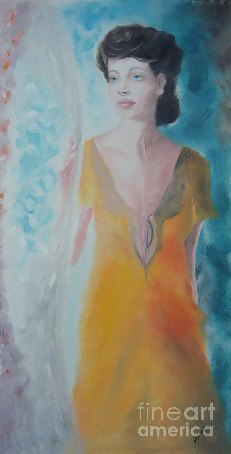 Woman Painting - Awaiting by Angela Melendez
