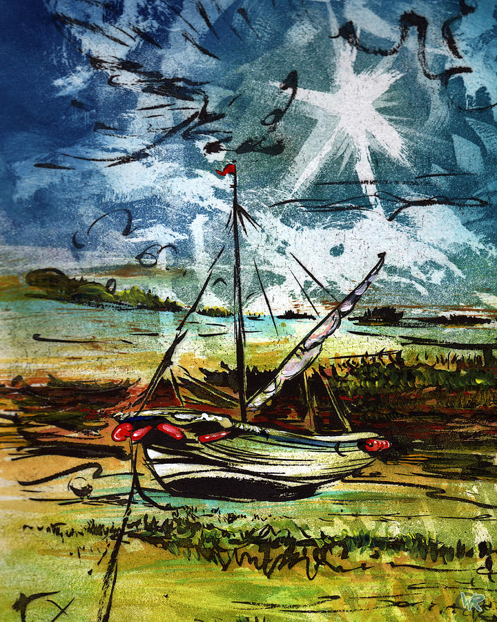 Seascape Mixed Media - Awaiting the Tide by William Rowsell