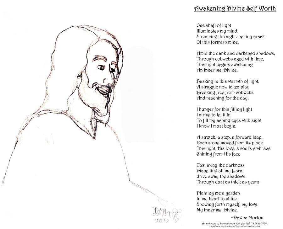 Christ Digital Art - Awakening Divine Self Worth Sketch Of Jesus 2 by Dawna Morton