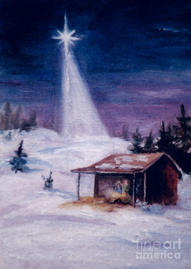 Christmas Painting - Away In A Manger by Brenda Thour
