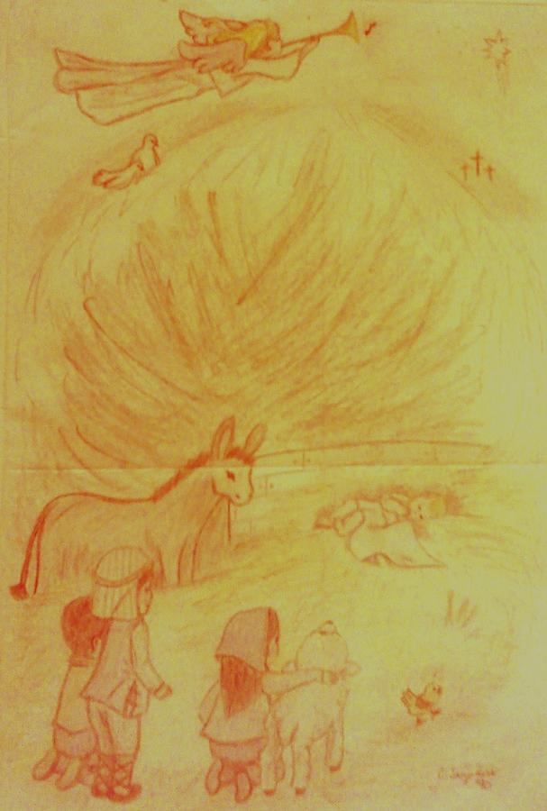 Jesus Drawing - Away In A Manger by Christy Saunders Church