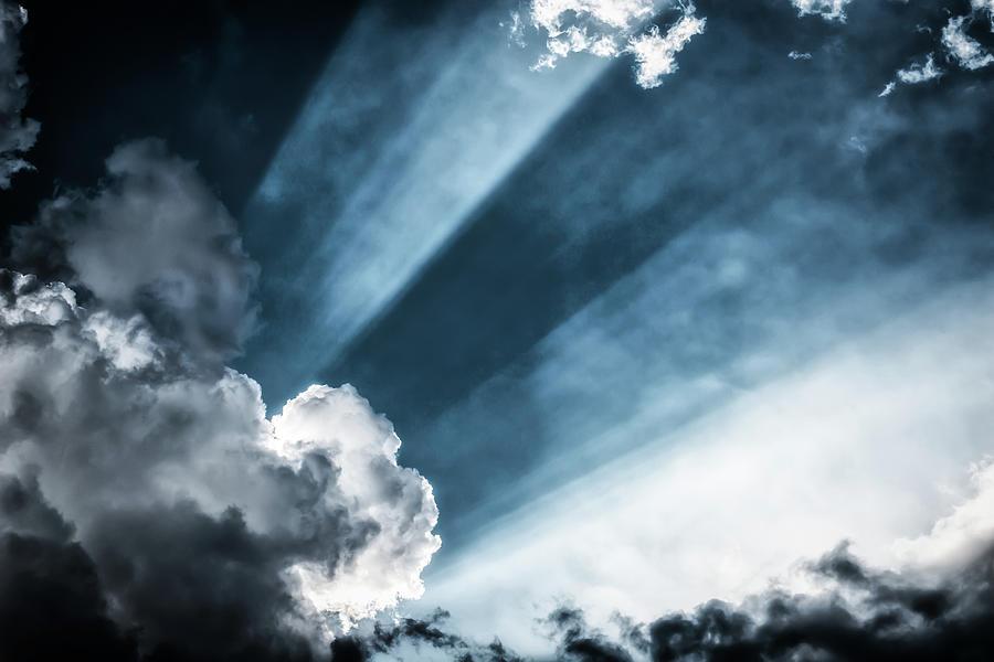 Awe Sunbeans Shining Through Cloudscape Photograph by Assalve