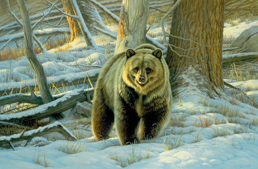 Wildlife Painting - Awesome Encounter by Paul Krapf
