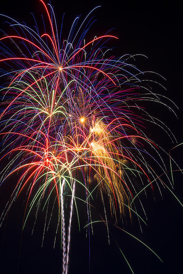 Awesome Fireworks Lights Up The Darkness Photograph - Awesome Fireworks by Garry Gay