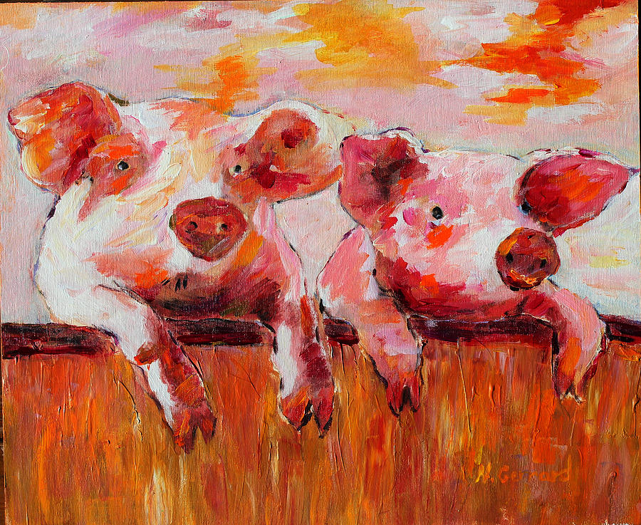 Farm Pigs Painting - Awesome by Naomi Gerrard