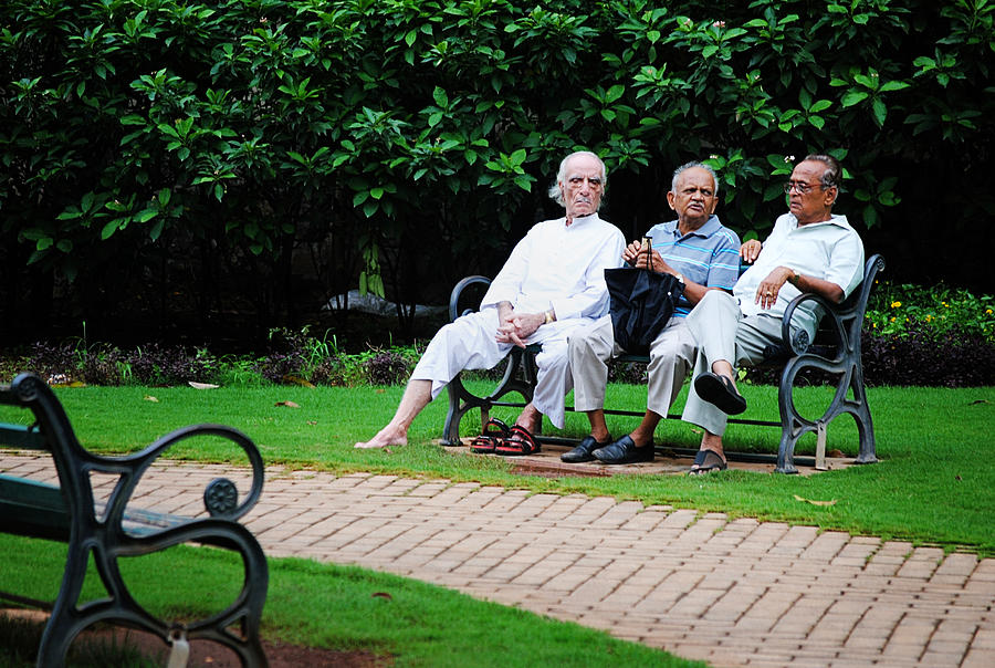 Old Men Photograph - Awesome Threesome by Money Sharma