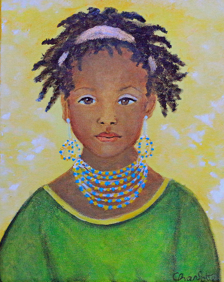 Africa Female Painting - Ayana Beautiful Flower by The Art With A Heart By Charlotte Phillips