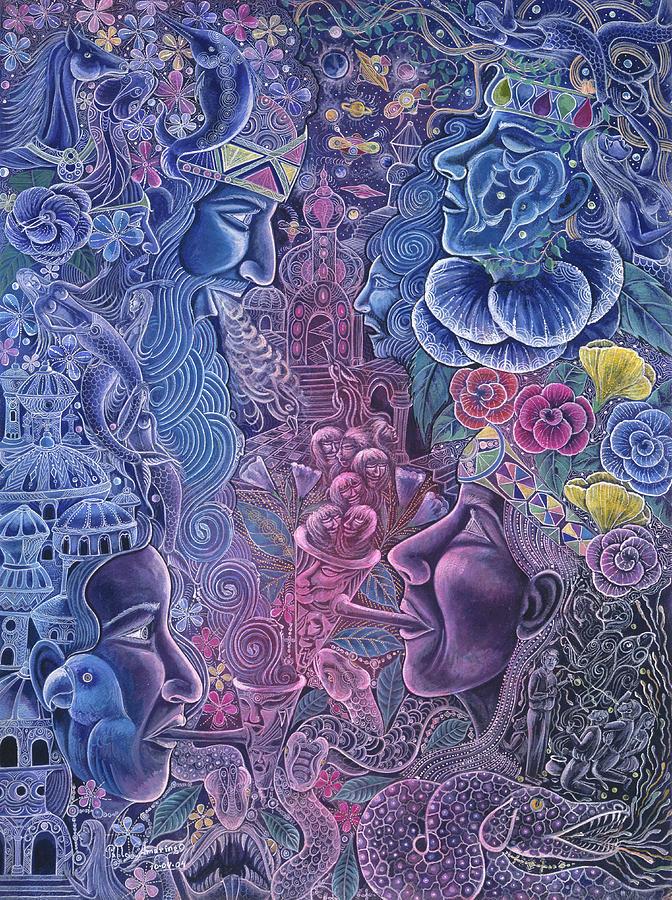 Pablo Amaringo Painting - Ayari Warmi by Pablo Amaringo
