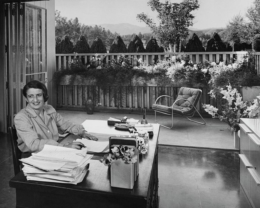Ayn Rand At Her Desk Photograph by Julius Shulman