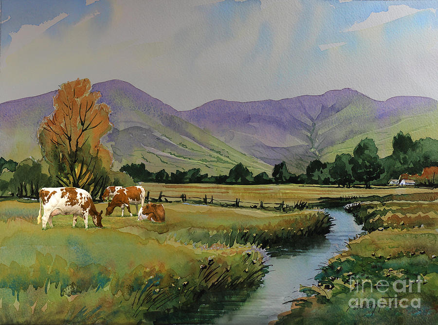Ayrshire Cattle Painting - Ayrshire Cattle In Langdale by Anthony Forster