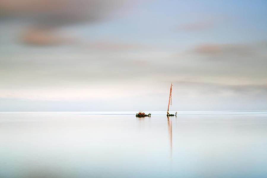 Shipwreck Photograph - Ayrshire Coast Flat Calm Shipwreck by Grant Glendinning