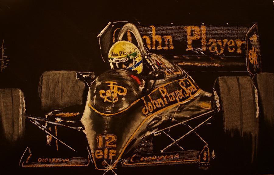 Ayrton Senna Pastel - Ayrton Senna And Lotus 98t by Juan Mendez
