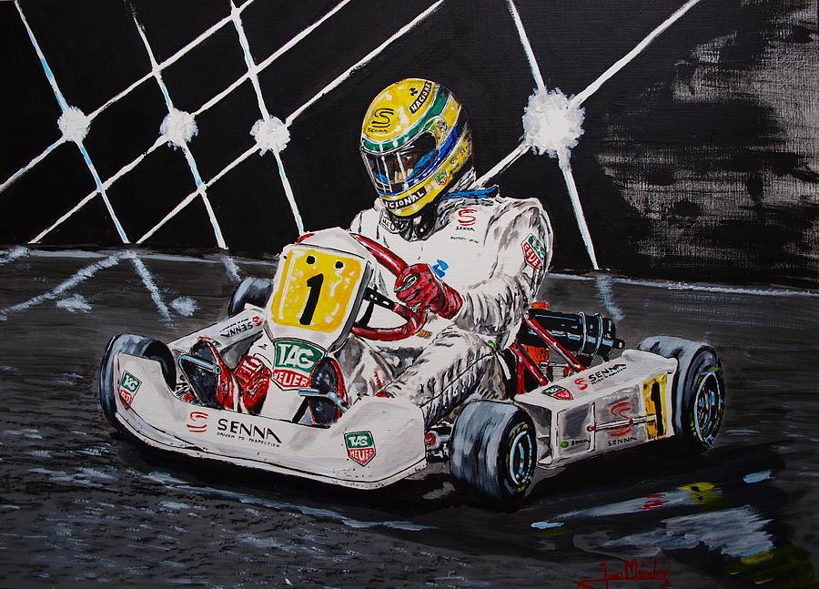 Ayrton Senna Painting - Ayrton Senna Karting by Juan Mendez