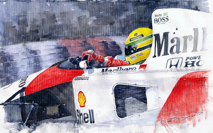 Watercolor Painting - Ayrton Senna Mclaren 1991 Hungarian Gp by Yuriy Shevchuk
