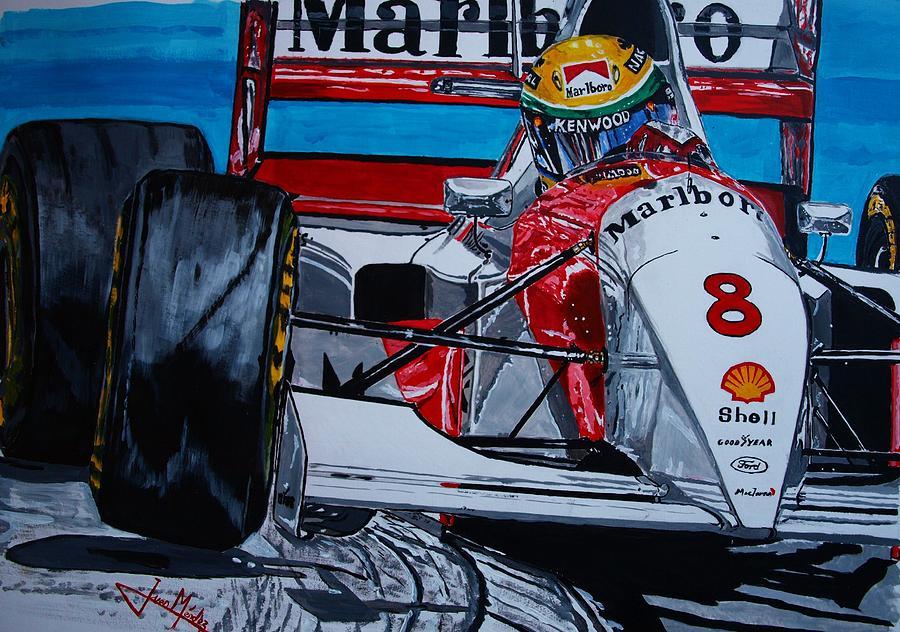 Ayrton Senna Painting - Ayrton Senna Monaco 93 by Juan Mendez