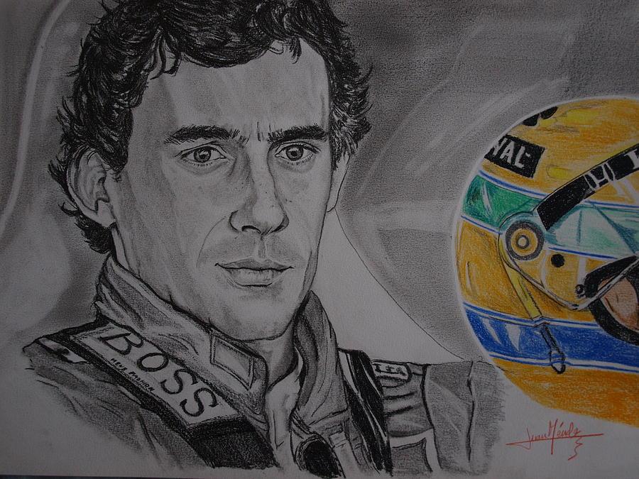 Ayrton Senna Drawing - Ayrton Senna Portrait by Juan Mendez