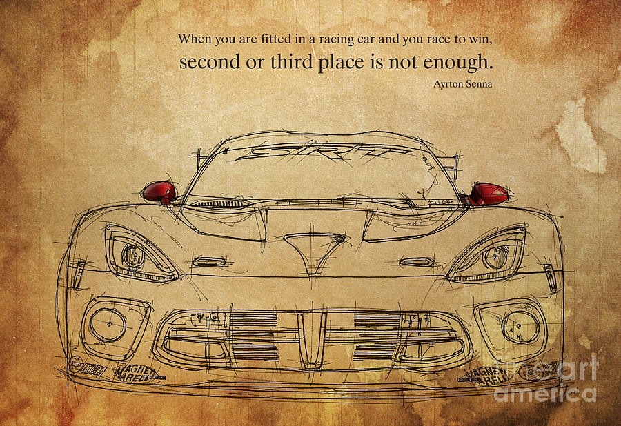 Ayrton Senna Quote Drawing by Drawspots Illustrations