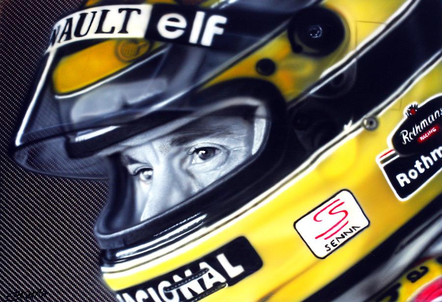 Airbrush Painting - Ayrton Senna by Tom Ryczkowski