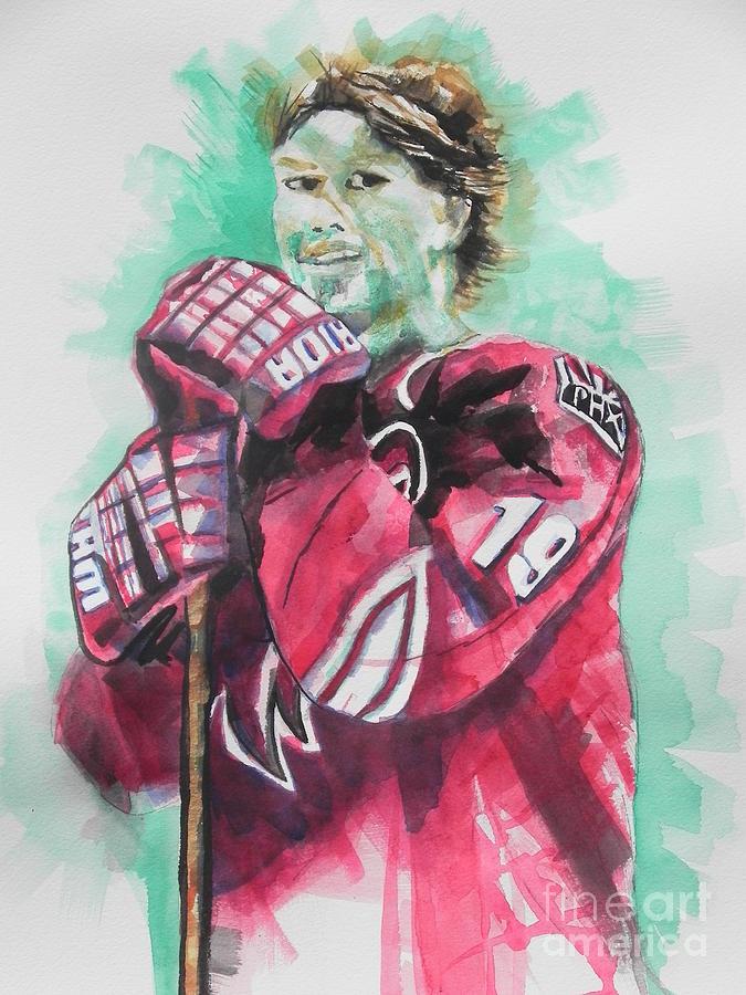 Watercolor Painting Painting - Az Coyotes ...hockey Player Shane Doan by Chrisann Ellis