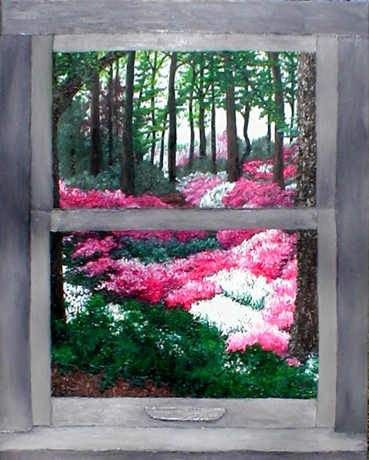 Window Painting - Azalea Bowl Overlook Gardens by Beth Parrish