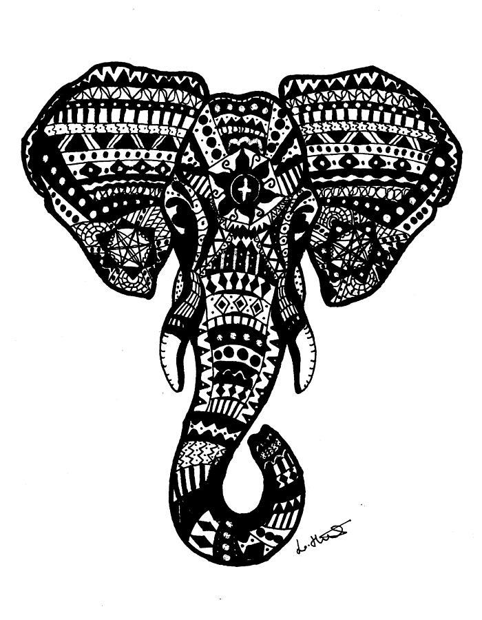 Aztec Elephant Head Drawing By Loren Hill
