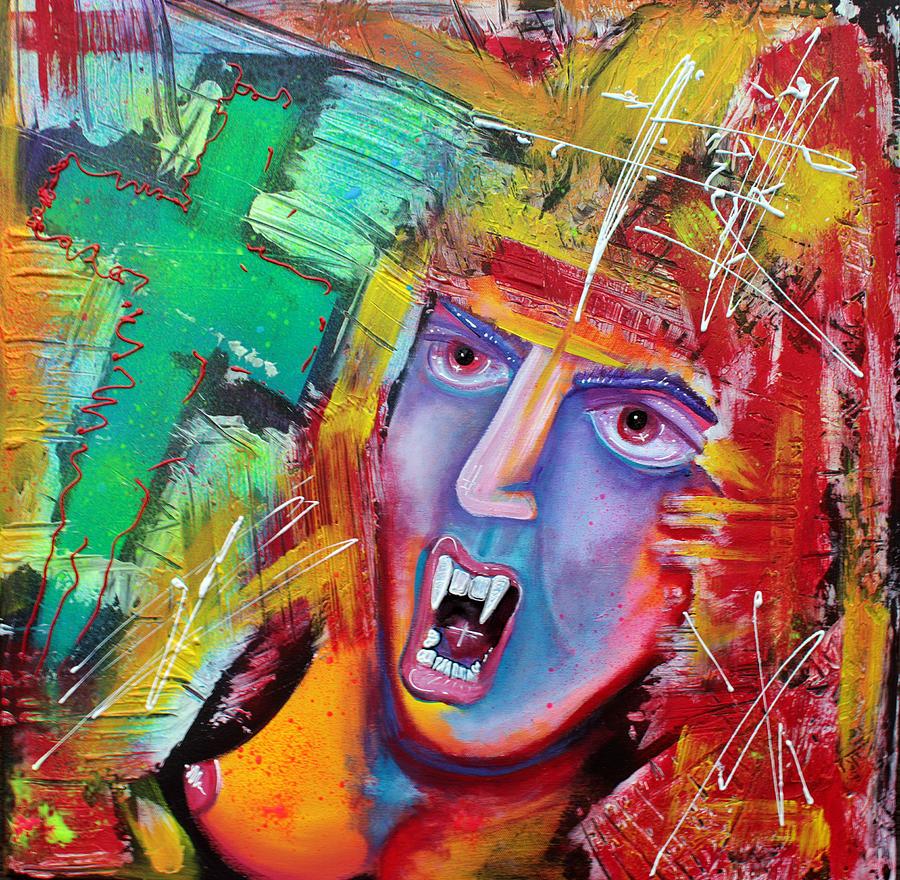 Vampire Painting - Aztec Vampire by Laura Barbosa