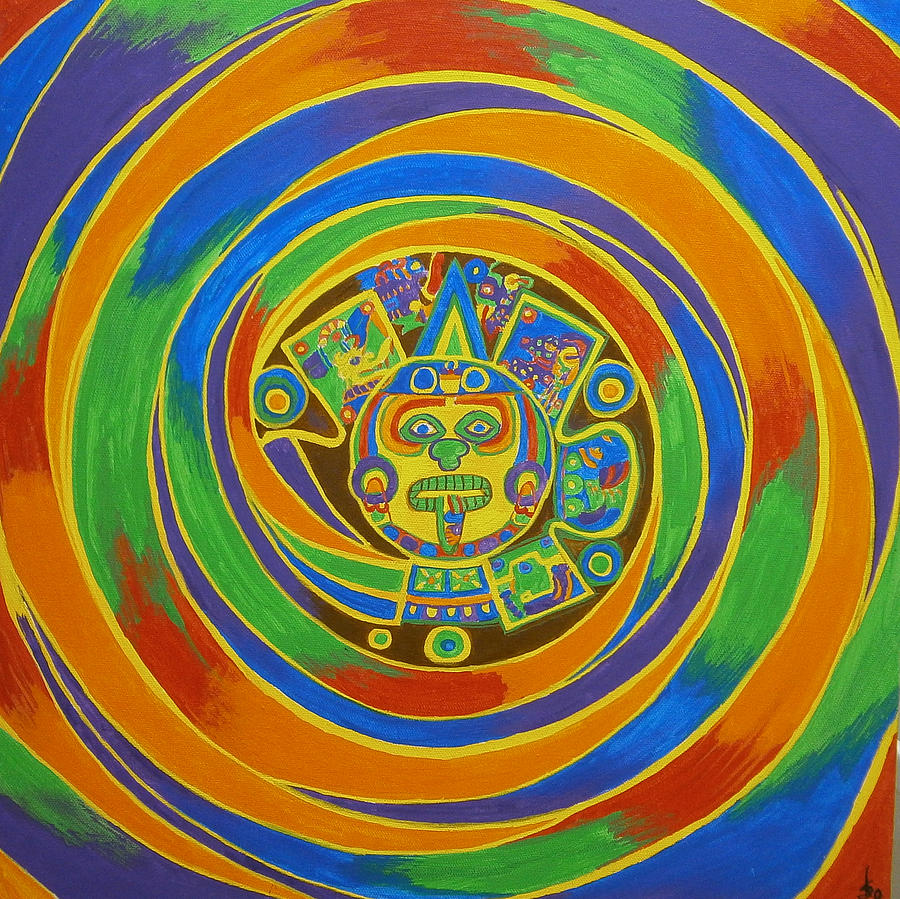 Abstract Painting - Aztec Vortex by Drew Shourd