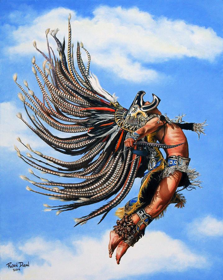 Figure Painting - Aztec Warrior by Ruben Duran