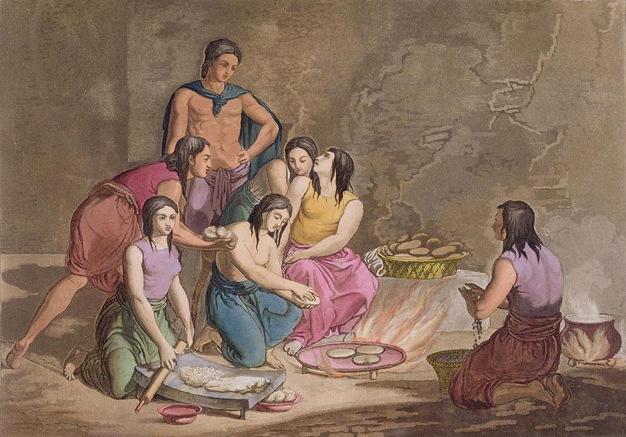 Giulio Drawing - Aztec Women Making Maize Bread, Mexico by Gallo Gallina
