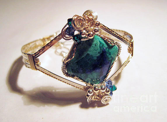 Azurite Jewelry - Azurite Malachite Natural Stone Bracelet In Sterling And Gold Filled Wire by Holly Chapman