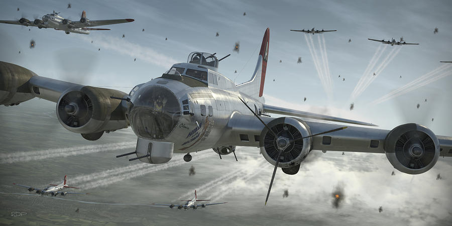 B-17 Digital Art - B-17g Hikin For Home by Robert Perry
