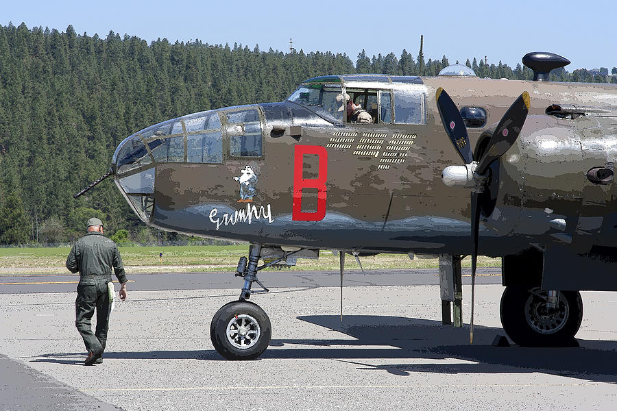 B-25 Photograph - B-25 Bomber Pre-flight Check by Daniel Hagerman