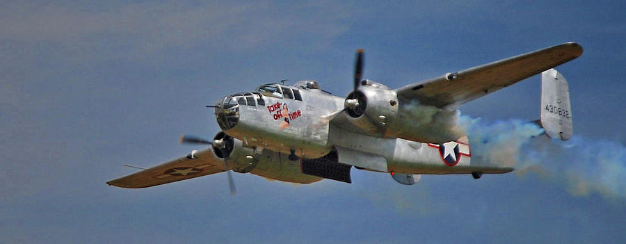 Airplane Photograph - B-25 Take-off Time 3748 by Guy Whiteley
