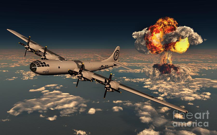 Horizontal Digital Art - B-29 Superfortress Flying Away by Mark Stevenson