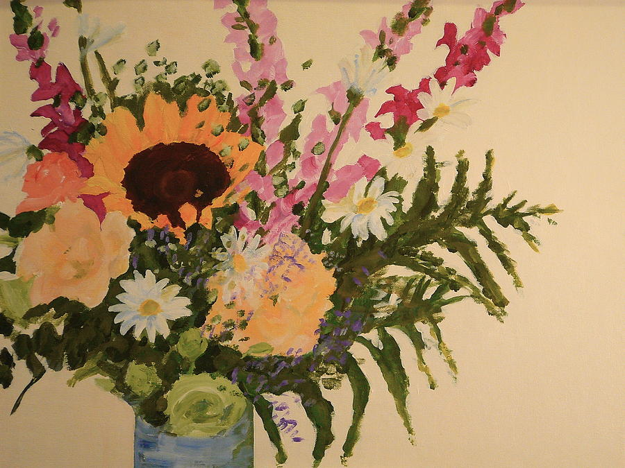 Flowers Painting - B-day Bouquet by Valerie Lynch