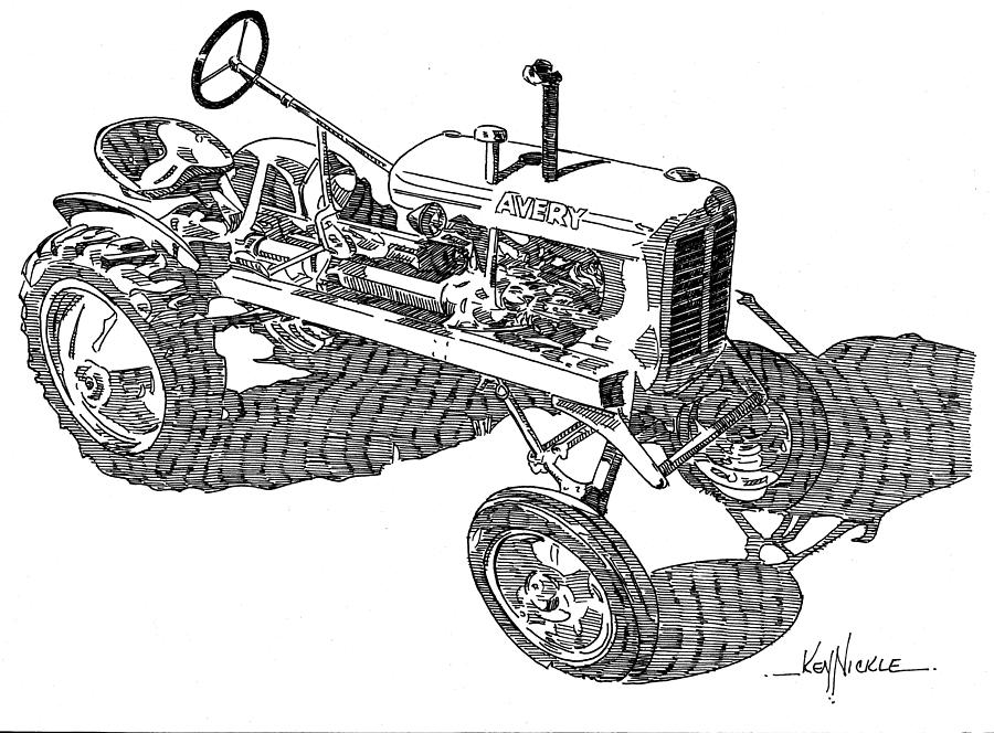Tractor Drawing - B F Avery V by Ken Nickle