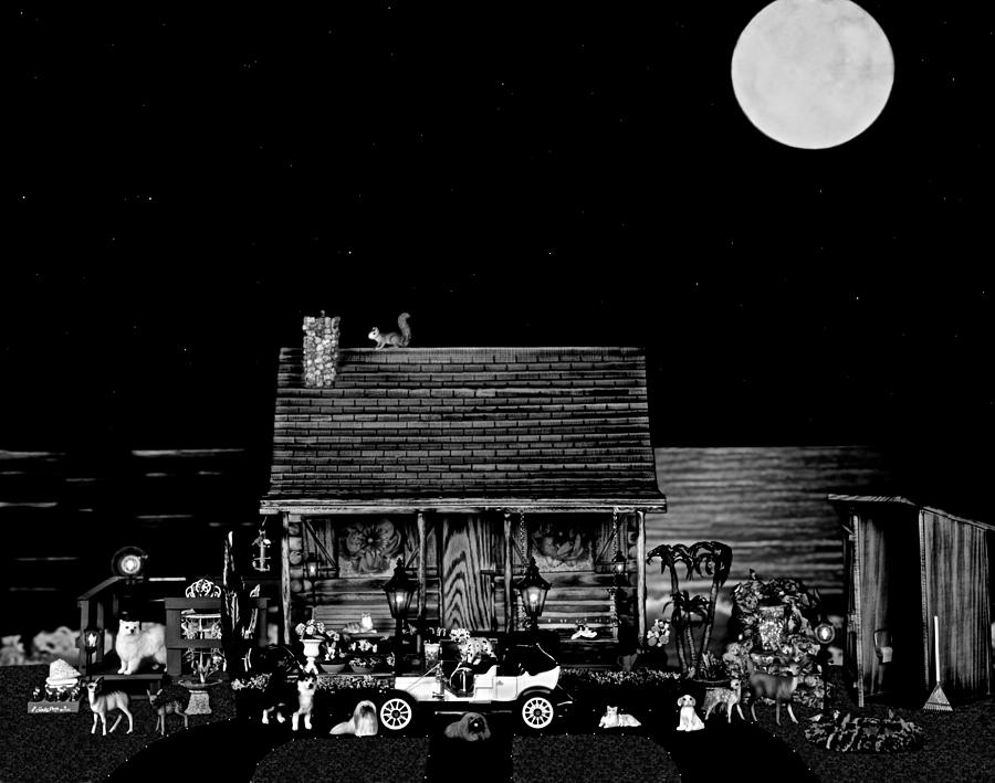 Log Cabin Photograph - B/w Log Cabin And Outhouse Scene With The Classic Old Vintage 1908 Model T Ford by Leslie Crotty