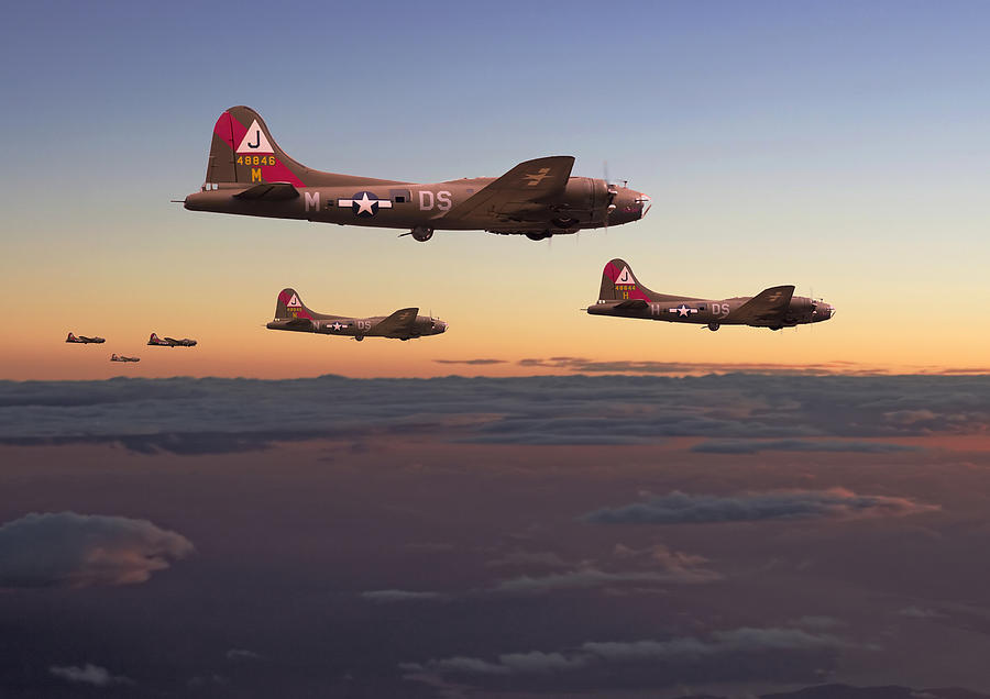 Aircraft Digital Art - B17- A Winters Tale by Pat Speirs