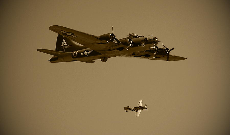 B17 Photograph - B17 And Escort by Richard Booth