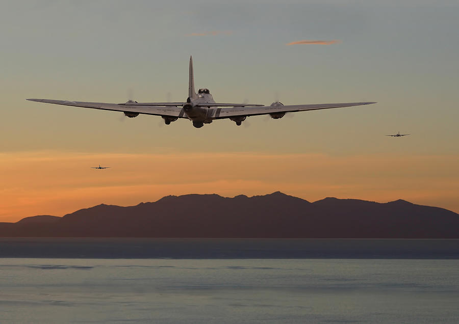 Aircraft Digital Art - B17  Landfall by Pat Speirs