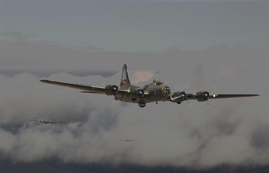 Aircraft Digital Art - B17 Outbound - heavy Weather by Pat Speirs
