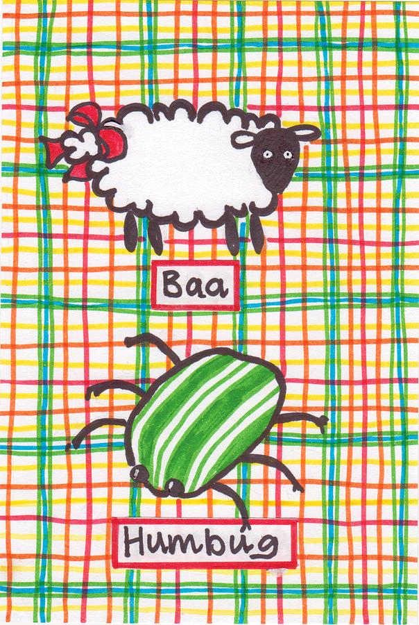 Christmas Card Drawing - Baa Humbug by Julie  Hutchinson