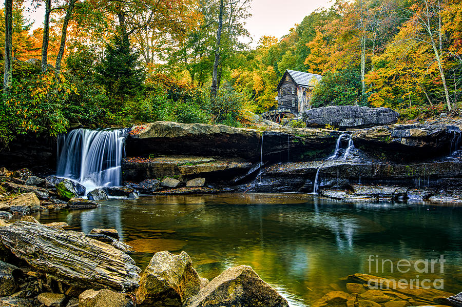 Babcock State Park Photograph - Babcock Falls As The Leaves Turn by Mark East