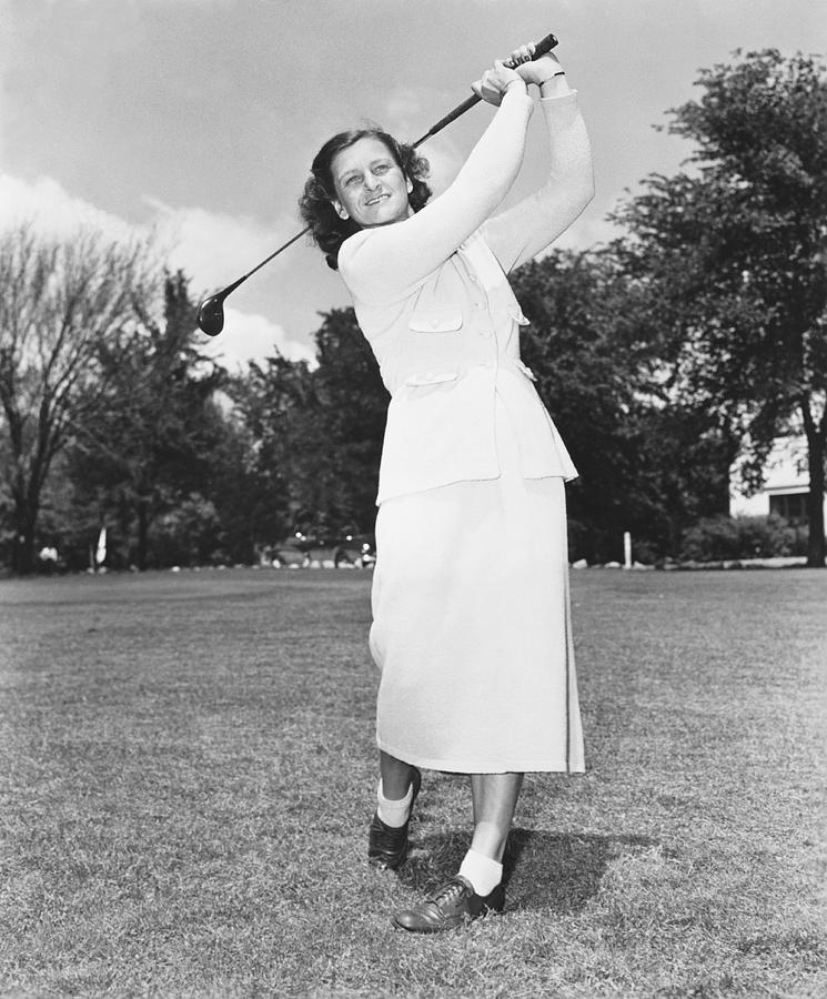 1950 Photograph - Babe Didrikson Golfing by Underwood Archives
